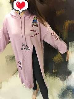 日韓高開衩刺繡毛衣