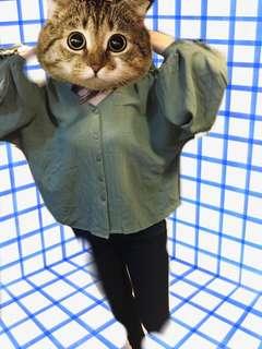 日韓墨綠飛鼠袖上衣