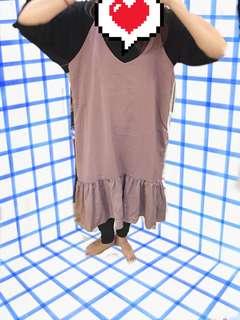 日韓裸粉色魚尾洋裝