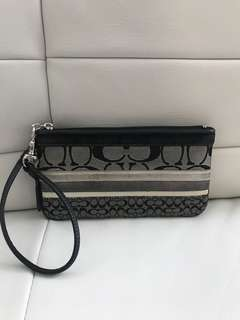 Authentic Coach Signature Wristlet Wallet
