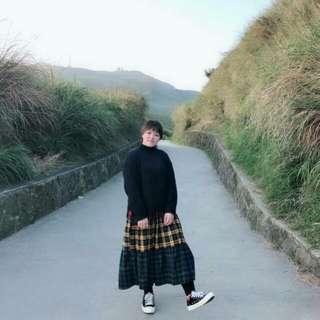 韓國 彩虹格子裙