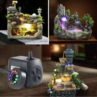 (US Plug)RGB LED Submersible Pump, Mini Electric Fountain Water Pump With 12 LED Light And 2 Nozzles For Aquarium Fish Tank Fountains Pool Garden Pond (15W 1.6M)