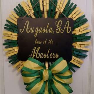 Unique (one of a kind) clothes pin Masters wreath