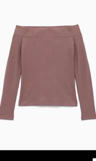 Aritzia Wilfred Off The Shoulder Top in Mauve Pink