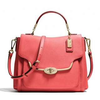 Old Stock! Selling Low! Authentic 27850 Coach Madison Small Sadie Flap Satchel Saffiano - Love Red