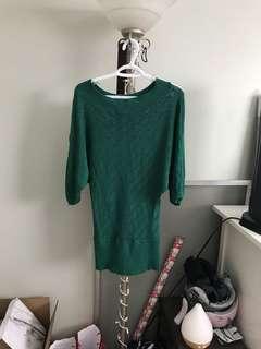 Green loose fitting sweater / dress - medium