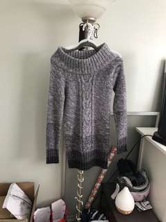 Comfy grey sweater dress - small