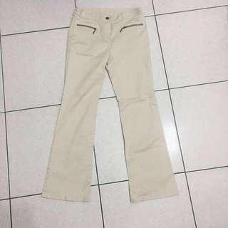 日本製 全新米白色OL長褲 拉鍊造型長褲 小喇叭長褲