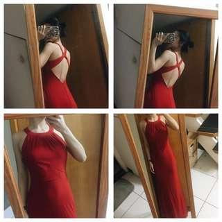 正紅露背長裙禮服 帶胸墊削肩洋裝 正式洋裝 晚宴長洋裝