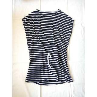 黑白橫條條紋飛飛袖t恤女短袖條紋T-shirt短袖寬袖圓領抽繩長版上衣長上衣