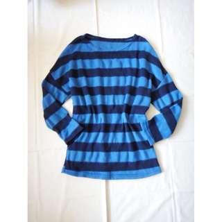 薄毛料藍色橫條條紋長袖飛鼠袖上衣蝙蝠袖圓領長版上衣長上衣