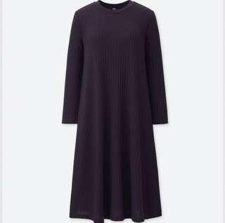 Uniqlo - Purple Ribbed 3/4 Sleeve Dress
