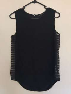 Zara black top sheer sides size xs