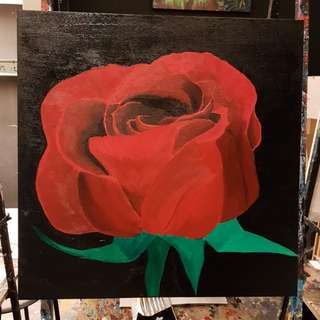 Handpainted acrylic red rose painting