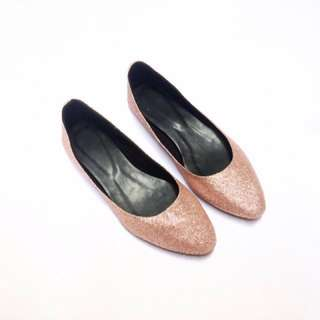 Rose Gold Pointed Ballet Flats