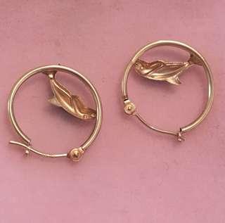 14k Gold Dolphin Hoop Earrings