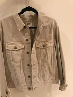 Oversized denim jacket in beige