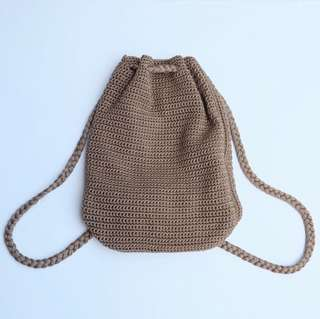 Cocoa Hand Crafted Drawstring Bag