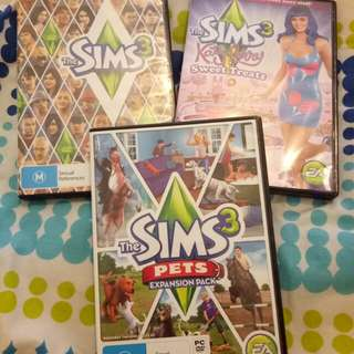 The Sims 3 base game, pets and sweet treats