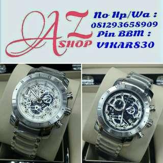 Jam Tangan Pria Bulgari Skeleton Silver Grade Super AAA Premium