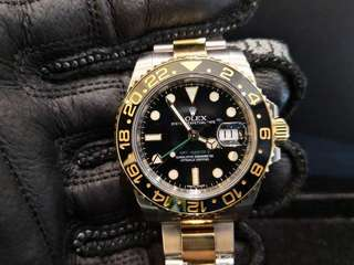 PREOWNED ROLEX GMT MASTER II, 116613LN, Yellow Rolesor, 904L Steel 18Ct Yellow Gold, 40mm, Alphanumeric Series @ Sept 2014 Mens Watch