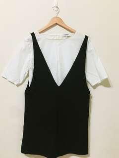 兩件式黑白洋裝