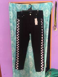 Boohoo black checkerboard trim jeans