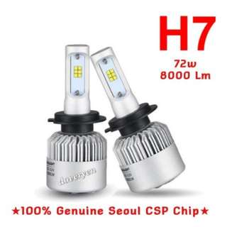 H7 CSP Led Headlight Bulb  ★Car Van Motorcycle Usage  ★100% Genuine Seoul 1616     CSP Chip 2 Sided x 12 Leds      ★Ultra Bright      Built-in Constant Current  ★Mini Size      Plug & Play  ★6.5k White      8000 lm 72w  In Stock
