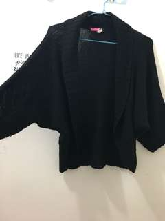 Black Knitted Batwing Cardigan