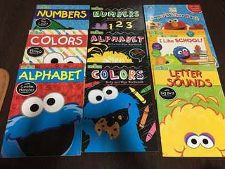 Elmo Lot of 9 Books Learning Stickers Wipe-Out Books