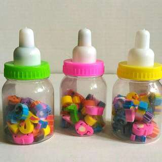 Number Rubber Pencil Erasers in a Mini Milk Bottle