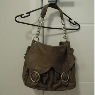 OROTON  leather shoulder bag with chain strap