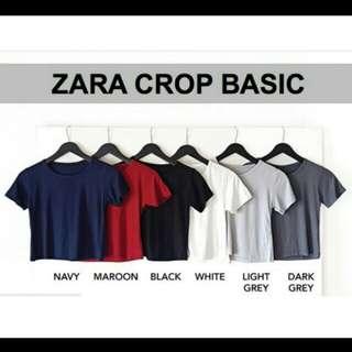 👕Zara Crop Top Basic | Kaos Pendek Zara