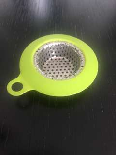 Sink drain sieve Food hair catcher lime green rubber  and stainless steel