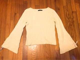 日牌Heather 喇叭袖蝴蝶結淡黃上衣