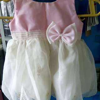Cute baby pink bow dress ( christening dress )