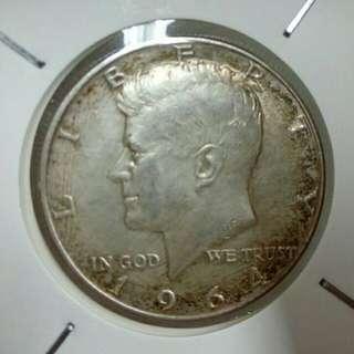 激筍價!1964年美國半圓銀幣 帶底光 美包漿