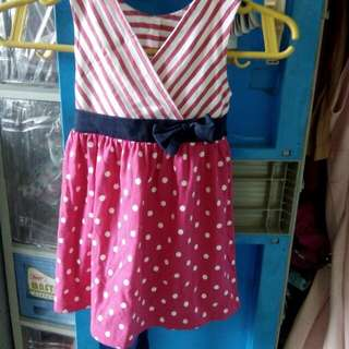 Pink polka dots and stripe dress with bow