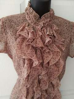 RW&Co Ruffled Floral Top Size S