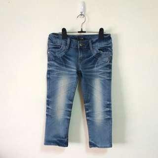 口袋綴飾七分牛仔褲