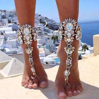 Crystal white hand or foot body jewellery