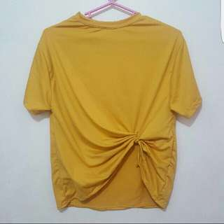 SUPER SALE! Mustard Yellow Front Knotted Tie Top