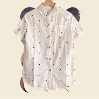 蘑菇刺繡文藝木釦白色襯衫