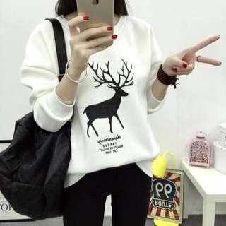 👏韓版加絨可愛鹿鹿衫