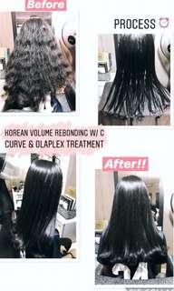 Korean Volume C Curl Rebonding with Add on Olaplex