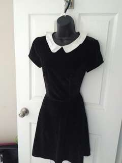 Peter Pan Collared Black Dress