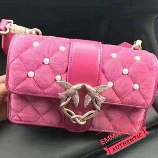 Pinko 絨毛+ 皮 珍珠 Chain Bag 🎀