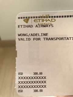 Etihad Airways Voucher USD300