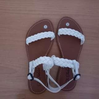 White Flats Sandals Shoes