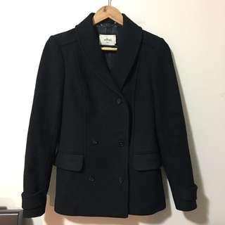Aritzia Wilfred S Black Wool Pea Coat